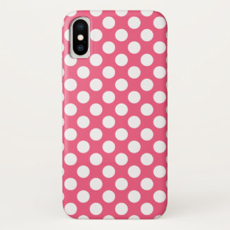 Cute Polka Pot Pattern with White Dots iPhone X Case