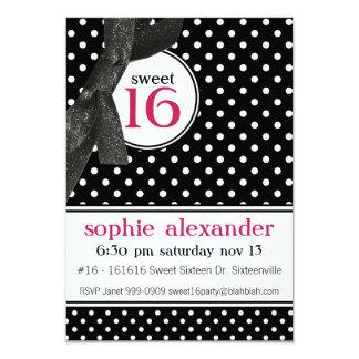 Cute Polkadot Pattern Sweet 16 Party 9 Cm X 13 Cm Invitation Card