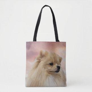 Cute Pomeranian Dog Watercolor Oil Painting Tote Bag