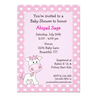 Cute Pony and Hearts Girls Baby Shower Card