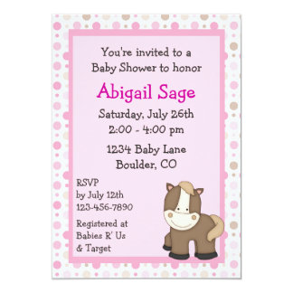 Cute Pony Baby Shower Invitations for Girls
