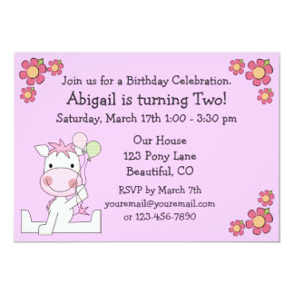 Cute Pony Birthday Invitation for Girls
