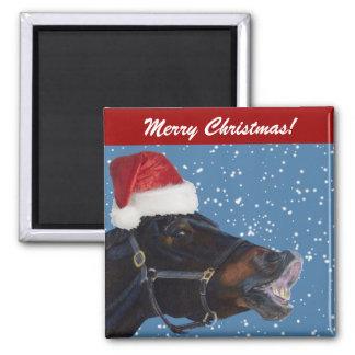 Cute Pony Christmas Square Magnet