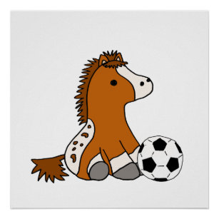 Cute Pony Playing Soccer Poster