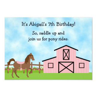 Cute Pony Rides Birthday Invitation for Girls