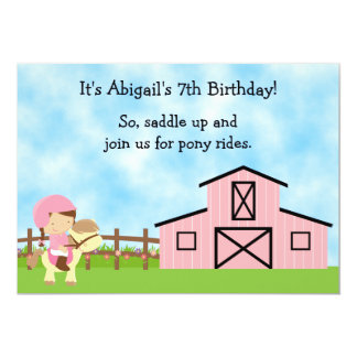 Cute Pony Rides Pink Barn Horse Birthday Invite