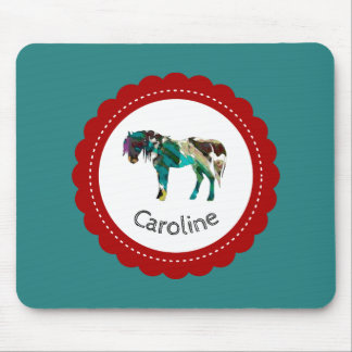 Cute Pony with Blue and Red Mouse Pad