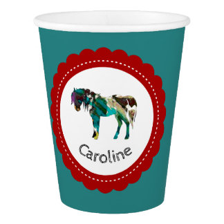 Cute Pony with Blue and Red Paper Cup
