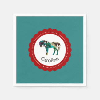 Cute Pony with Blue and Red Paper Serviettes