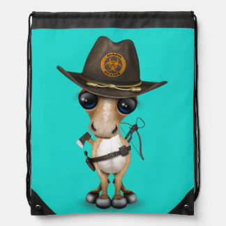 Cute Pony Zombie Hunter Drawstring Bag