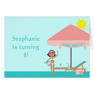 Cute pool party girl s birthday card invitation
