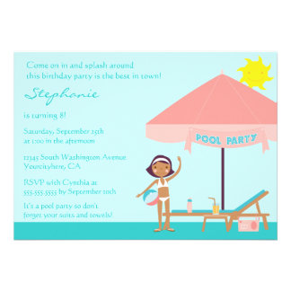 Cute pool party girl s birthday party invitation
