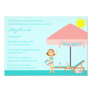 "Cute pool party girl's birthday party invitation 5"" x 7"" invitation card"