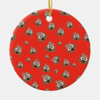 Cute Poop Emoji Pattern Ceramic Ornament