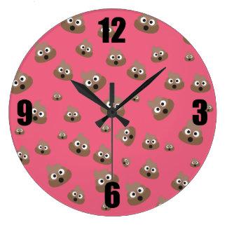 Cute Poop Emoji Pattern Large Clock