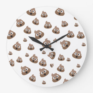 Cute Poop Emoji Pattern Large Clock