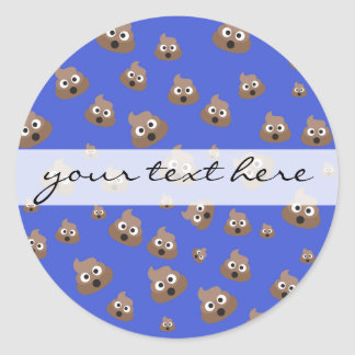 Cute Poop Emoji Pattern Round Sticker