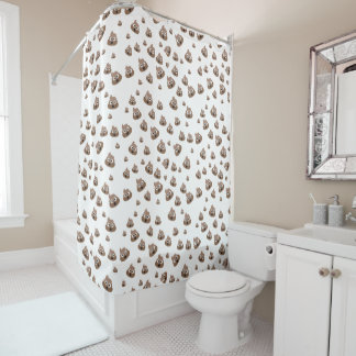 Cute Poop Emoji Pattern Shower Curtain