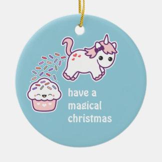Cute Pooping Unicorn Ceramic Ornament