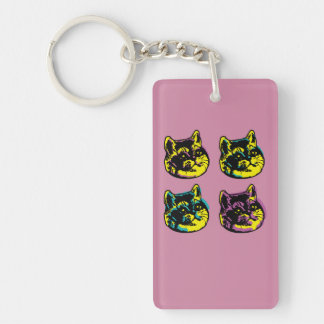 Cute Pop Art Cats Heavy Breathing Intensifies Key Ring
