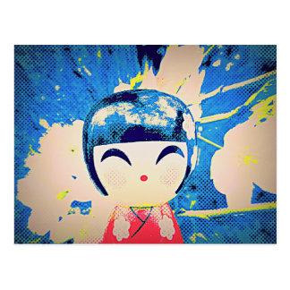 Cute pop art Japanese kokeshi doll Postcard