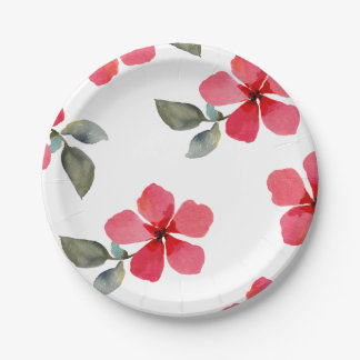 Cute Poppy Red Spring Flowers Floral Bridal Shower Paper Plate