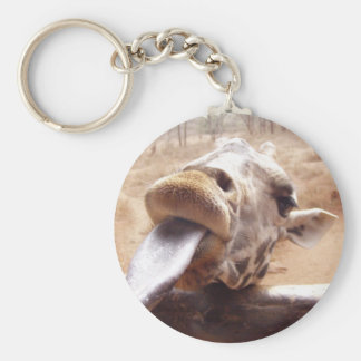 Cute Pose By Giraffe Basic Round Button Key Ring
