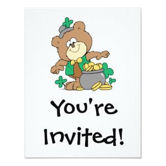 cute pot of gold irish st paddy boy teddy bear 11 cm x 14 cm invitation card