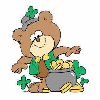 cute pot of gold irish st paddy boy teddy bear standing photo sculpture