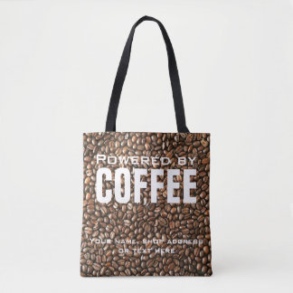 Cute Powered by Coffee Unique Name or Text Tote Bag