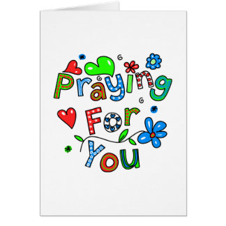 Cute Praying For You Greeting Text Expression Greeting Card