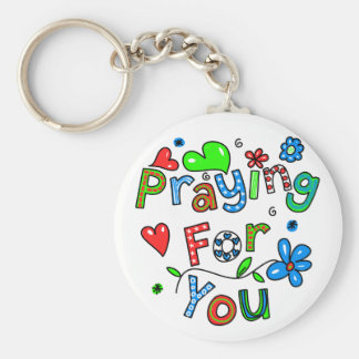Cute Praying For You Greeting Text Expression Basic Round Button Key Ring
