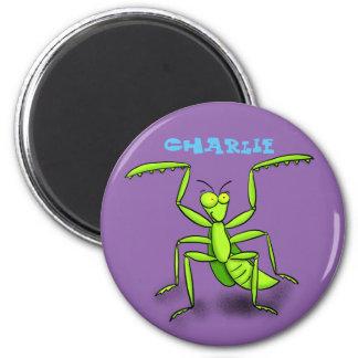 Cute praying mantis cartoon magnet
