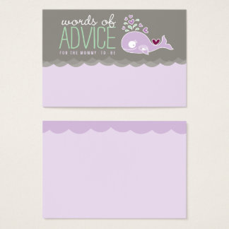 Cute Pregnant Whale Baby Shower Mummy Advice Cards