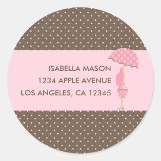 Cute Pregnant Woman (Pink) Return Address Labels Round Sticker