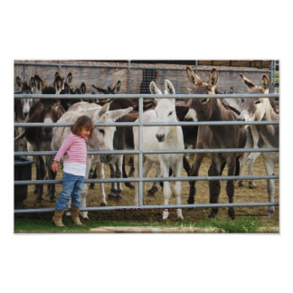 Cute Preschool Girl and Donkey Friends Poster