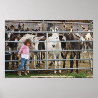 Cute Preschool Girl and Donkey Friends Print