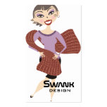 Cute pretty girl giant scarf knitting crochet business cards