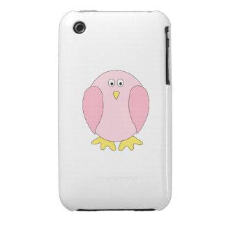 Cute Pretty Pink Bird Cartoon. iPhone 3 Covers