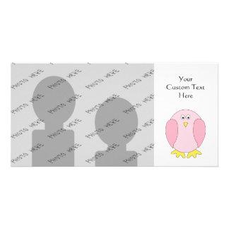 Cute Pretty Pink Bird Cartoon. Customised Photo Card