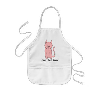 Cute Pretty Pink Cat Kids Apron