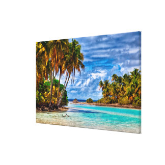 Cute Pretty Summer Hawaiian Beach Watercolor Canvas Print