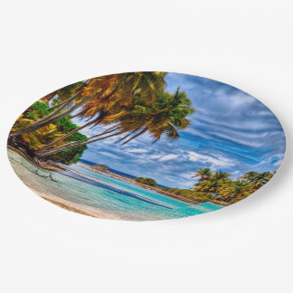 Cute Pretty Summer Hawaiian Beach Watercolor Paper Plate