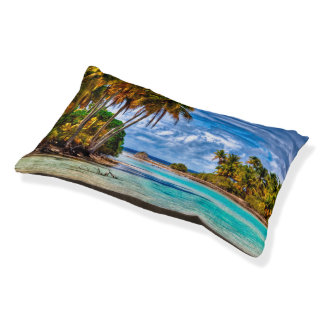 Cute Pretty Summer Hawaiian Beach Watercolor Pet Bed