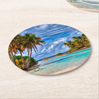 Cute Pretty Summer Hawaiian Beach Watercolor Round Paper Coaster