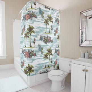 Cute Pretty Summer Hawaiian Beach Watercolor Shower Curtain