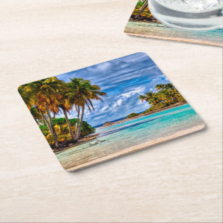 Cute Pretty Summer Hawaiian Beach Watercolor Square Paper Coaster