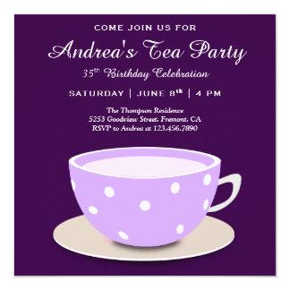 Cute Pretty Tea Cup   Purple Birthday Tea Party Card
