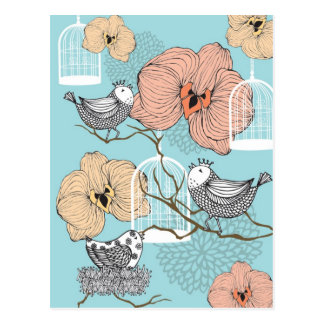 Cute Pretty Vintage Floral Birds & Birdcages Postcard