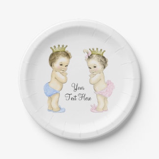Cute Prince and Princess Boy and Girl Twin Baby Paper Plate